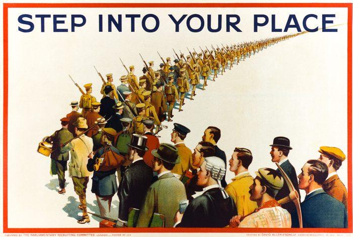 Soldiers, civilians, propaganda poster