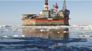 Floating rig drilling in Russian Arctic Ocean waters (partly owned by Exxon/Mobil)
