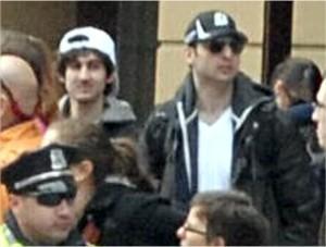 Dzhokhar Tsarnaev (left), Tamerlan Tsarnaev (right), surveillance image