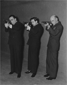 J. Edgar Hoover (left) with Sumner Blossom, Editor of The American Magazine, and journalist Courtney Ryley Cooper