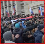 Pro-Russian protesters in Donetsk, Eastern Ukraine