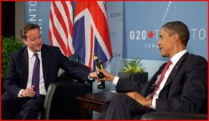 Obama and Cameron share a toast