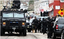 Police BearCat and automatic weapons, Boston lockdown