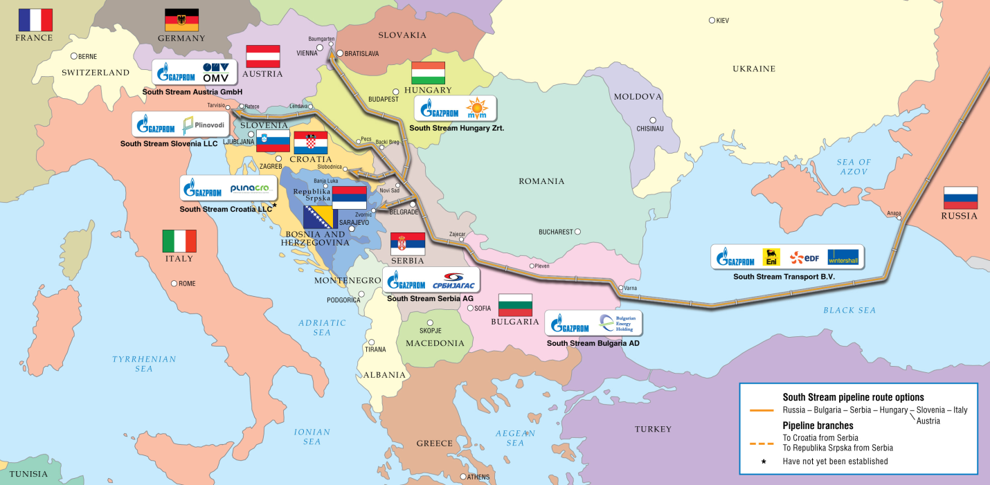 South Stream Pipeline Map