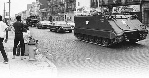 Armored personnel carrier in Newark