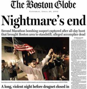Boston Globe front page after Dzhokhar Tsarnaev's capture