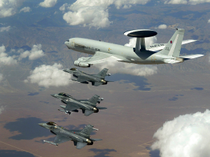 A NATO air patrol of F-16s and an AWACS