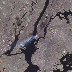 Photo from Space Shuttle looking down on Manhattan: A deep state event seen from deep space. New York City, 9/11. NASA Photo