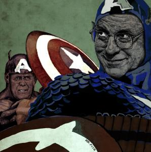 Image of Captains America Dick Cheney and Donald Rumsfeld, rigged to self-destruct. By Mr. Fish