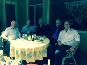 Photo of Peter Dale Scott, Russ Baker, David Talbot, Daniel Ellsberg, Jefferson Morley at a recent lunch