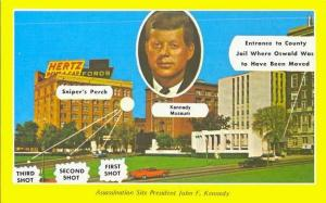 Postcard depicting the official JFK assassination story.
