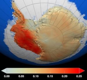 Red shows where temperatures have increased the most during the last 50 years. Dark blue shows where there was less warming. Temperature changes shown are in degrees Celsius.""