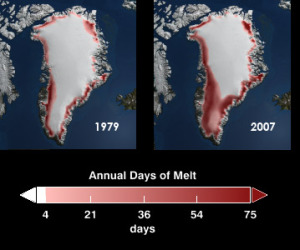 The rate of ice melt in the western part of Greenland has sped up by about 30 percent since 1979.
