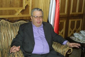 Syrian Justice Minister Najm al Ahmad describing chemical weapon attack against Syrian troops. (c) Reese Erlich 2014.