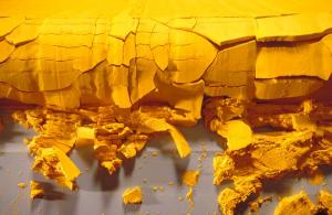 Yellowcake uranium, a semi-refined form of the ore which Iran can produce.