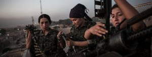 Female fghters from Rojava's YPJ unit.