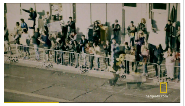 A frame grab from National Geographic's docudrama on the Boston bombing.