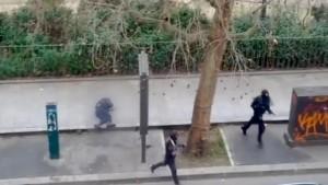 Video frame grab of attack on Paris magazine Charlie Hebdo.