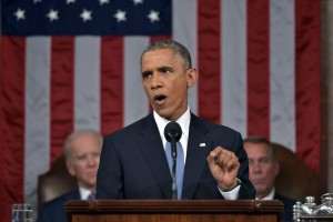 President Obama at his 2015 State of the Union speech. Pool photo.