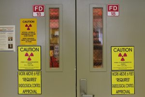 Door to a contaminated area in the T Plant at the Hanford Reach National Monument. By Paul DeRienzo.