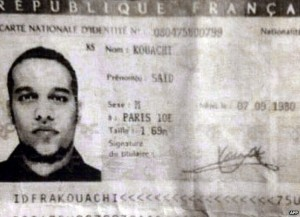 Said Kouachi's ID card. Allegedly found in the getaway car.