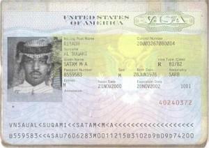 Visa belonging to Satam al-Suqami