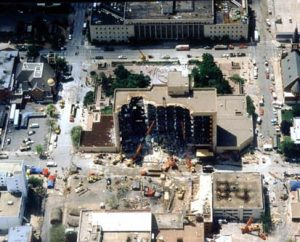 """Murrah Building Aerial"" by US Army Corps of Engineers. Hronek, Sheri (August 2001).</body></html>"