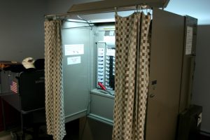 A voting booth at the University of Buffalo.