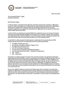 SIGAR's request for information from the Department of Defense.