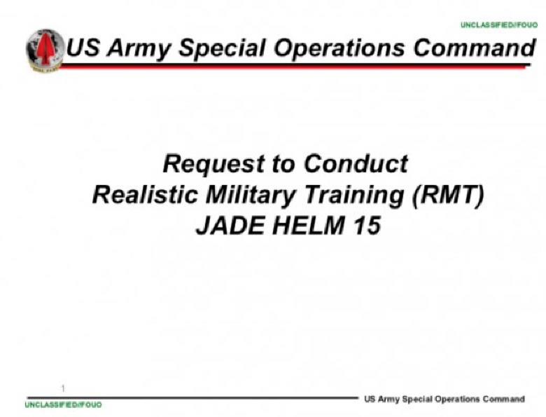 Face Page of US Army unclassified document on Jade Helm 15. Photo credit: US Army