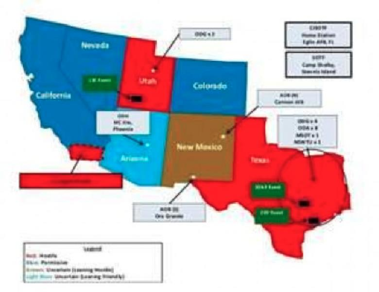 "Page from US Army Jade Helm document showing ""hostile"" states in red. Photo credit: US Army."