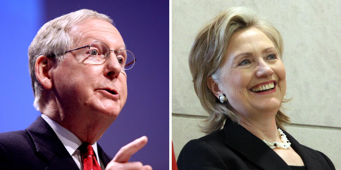 Mitch McConnell, Hillary Clinton