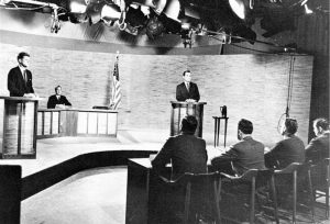 The Nixon–Kennedy presidential debates in 1960 were the first to be televised. Have presidential debates since become more a media circus controlled by a powerful few channels than a spirited discussion of policy? Photo credit: Wikimedia Foundation