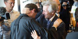 Photo credit: Urgenda / Chantal Bekker  CAPTION: Urgenda Attorney Roger Cox, left, celebrating the verdict with co-plaintiff Maurits Groen.