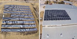 A bird's eye view of the school-saving solar panels. Photo credit: WACO CSD