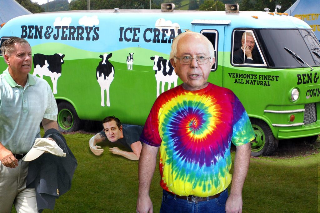 Bernie Sanders is still surprised that anyone knows who he is. Or likes him. Or invited him to a party. Photo credits: WhoWhatWhy. Bernie Sanders / U.S. Senate / Simon Lyall / Wikimedia / ResoluteSupportMedia / Flickr / LBJ Foundation / Flickr / Michael Vadon / Flickr / Jim Swinson / Flickr
