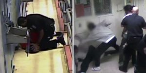 Left: Frame from prison surveillance video obtained by The New Yorker of Browder being slammed to floor by prison guard. Right: Video frame of Browder being attacked by gang members in prison. Photo credits: New Yorker (screen capture) / YouTube