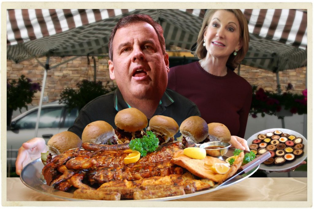 Chris Christie surprisingly keeps his promise to bring a potluck dish, but unsurprisingly forgets to share. Photo credit: WhoWhatWhy. Gage Skidmore / Flickr / Gage Skidmore / Flickr / Nacho / Flickr