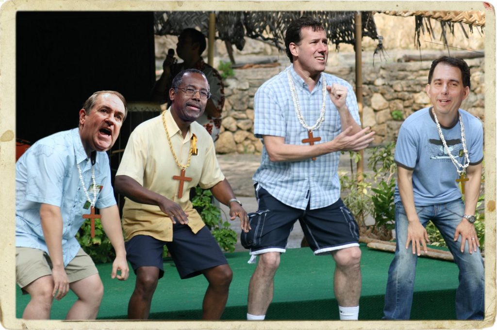 In an effort to entice young voters, Mike Huckabee, Rick Santorum, Scott Walker and Dr. Ben Carson launch a Christian rap quartet. Photo credit: WhoWhatWhy. Quinn Dombrowski / Flickr / Michael Righi / Flickr / Gage Skidmore / Flickr / Flickr / Michael Vadon / Flickr