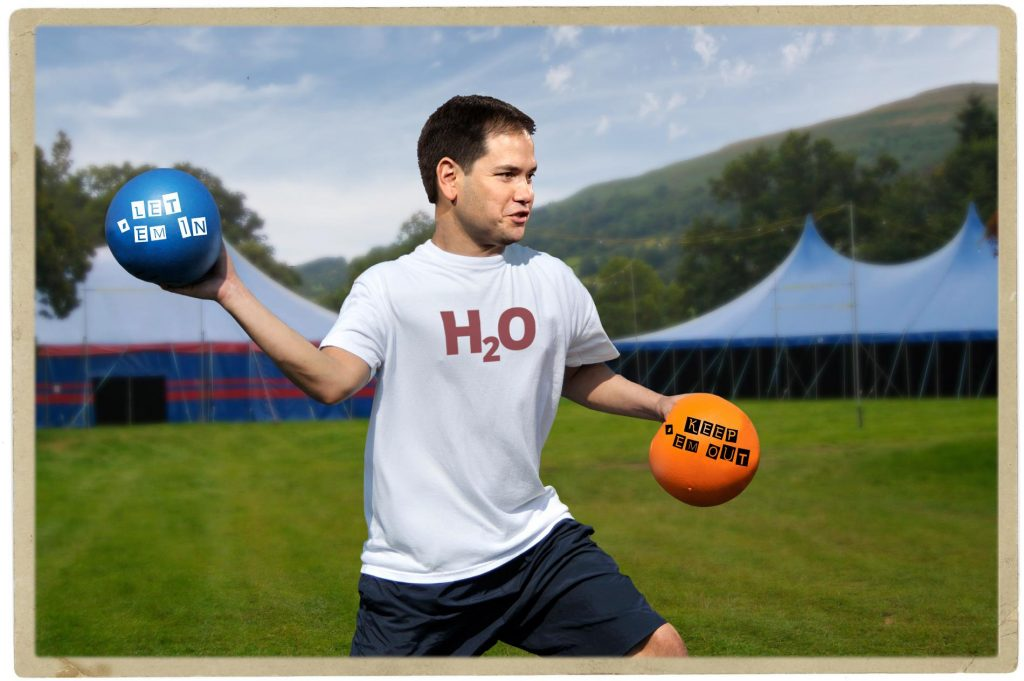 Dodgeball game never finishes because Marco Rubio requires constant water breaks. Photo credit: WhoWhatWhy. US Navy / Wikimedia / Michael Vadon / Flickr / Joanne Munro / Flickr