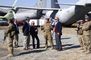 The Special Inspector General and SIGAR staff discussing the status of the Kabul C-27s with members of the US military during a recent inspection trip. Photo credit: SIGAR PDF