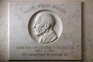 Allen Dulles bas-relief in the main lobby of Original Headquarters Building. Photo credit: Adapted by WhoWhatWhy from Central Intelligence Agency / Flickr