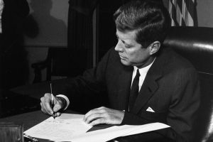 President Kennedy signed the Proclamation for Interdiction of the Delivery of Offensive Weapons to Cuba on October 23, 1962. The night before, on October 22, he delivered an address to the nation via television on