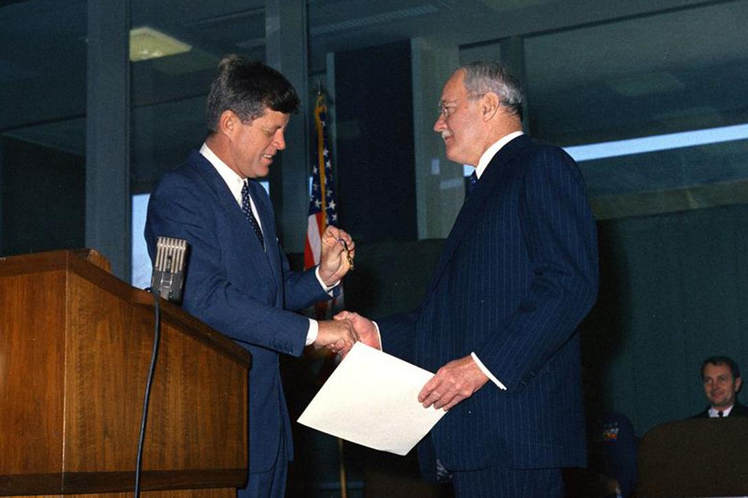 4b419fc19c 2. President John F. Kennedy Presents the National Security Medal to Allen  Dulles