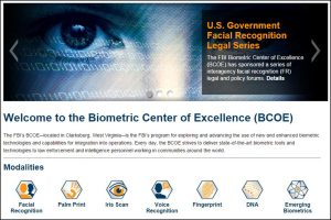 Screen shot of the FBI's Biometric Center of Excellence main web page. Photo credit: BCOE / FBI.GOV