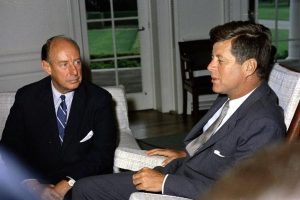 President John F. Kennedy meeting with the US Ambassador to the United Nations, Adlai E. Stevenson. October 23 was Stevenson's birthday, but in 1962 he was busy that day, at the UN, dealing with the Cuban Missile Crisis. Photo Credit: White House, in the John F. Kennedy Presidential Library