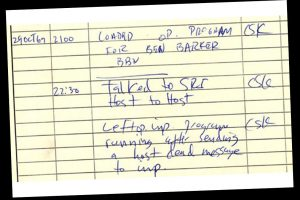 From Wikipedia - Historical document: First ARPANET IMP log: the first message ever sent via the ARPANET (predecessor to the Internet), 10:30 pm, 29 October 1969. This IMP Log excerpt, kept at UCLA, describes setting up a message transmission from the UCLA SDS Sigma 7 Host computer to the SRI SDS 940 Host computer. Photo Credit: Charles S. Kline / Wikimedia