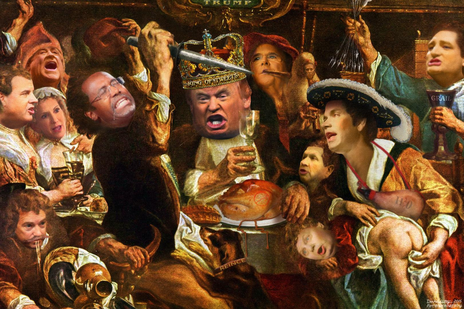 """Thanksgiving Feast at Trump Castle. Photo credit: Adapted for WhoWhatWhy by DonkeyHotey from a 17th century painting by Jacob Jordaens titled """"The King Drinks"""" available via Wikimedia. Other images used in this adaptation are listed below."""