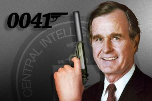 George H.W. Bush as agent 0041. Photo credit: Adapted by WhoWhatWhy from Library of Congress / Wikimedia, adamsguns.com / Wikimedia, Mono / Wikimedia (CC BY-SA 3.0)