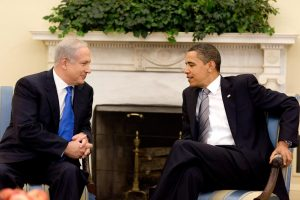 President Barack Obama is meeting with Israeli Prime Minister Benjamin Netanyahu at the White House today. About this photo: President Barack Obama with Israeli Prime Minister Benjamin Netanyahu in the Oval Office. (May 18, 2009) Photo Credit: Pete Souza / The White House / Flickr